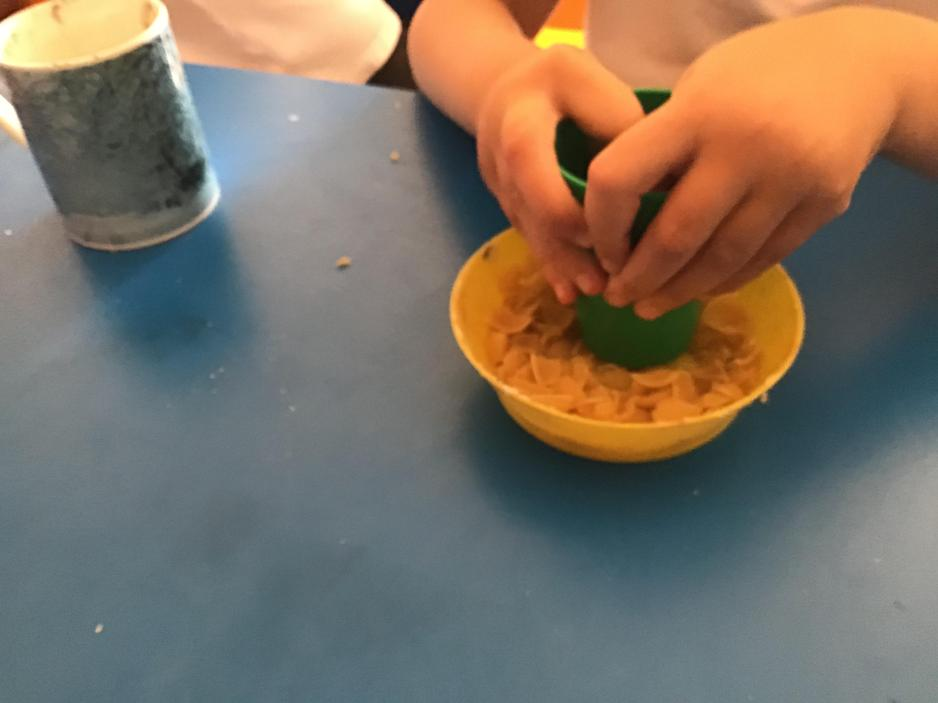 First we crushed pasta shells and added PVA glue and water.