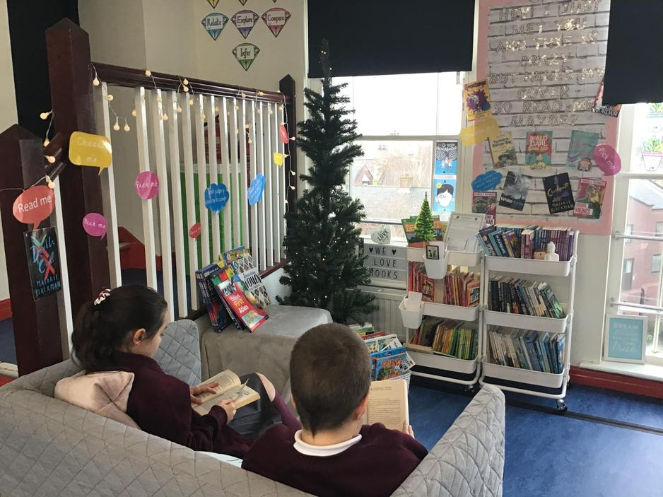 Relaxing and reading in the reading corner!