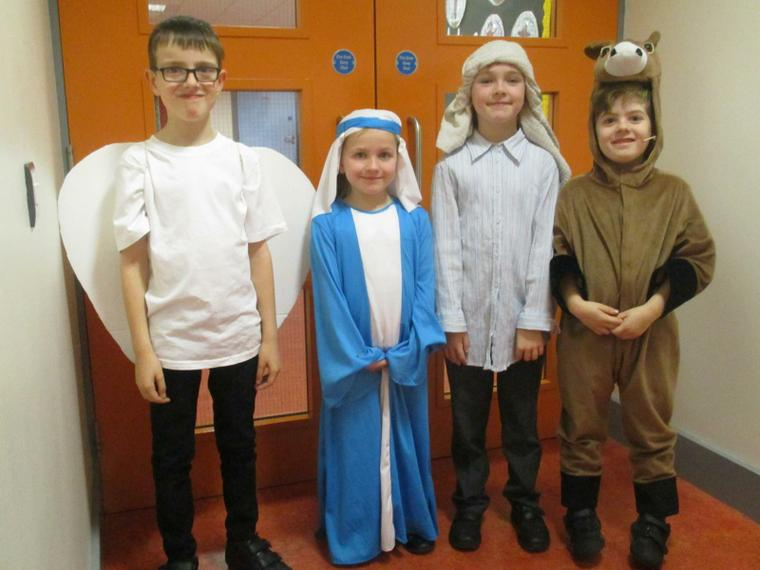 Gabriel, Mary, Joseph and Donkey