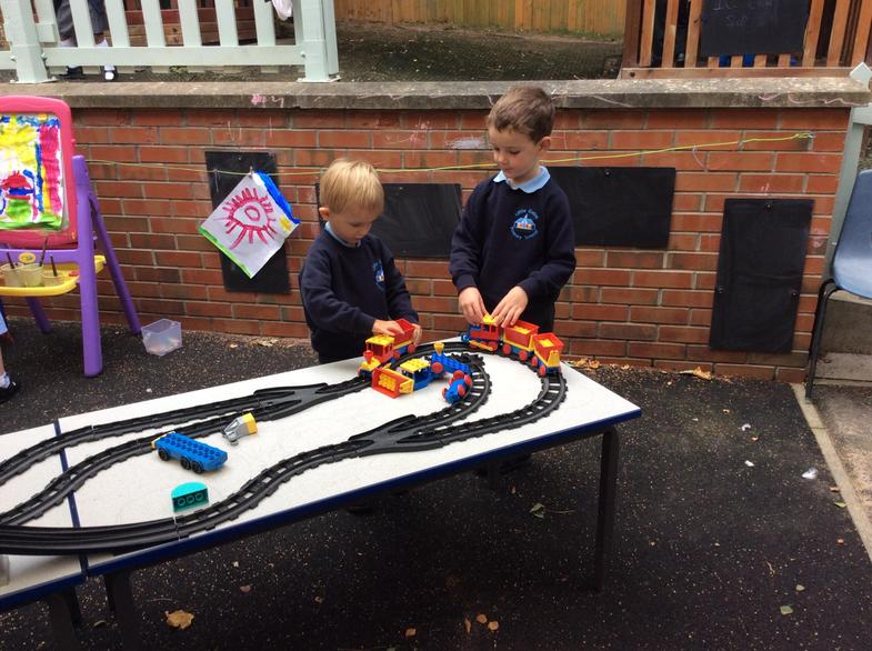 Building a train track.