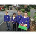 Members of School Council delivering the boxes