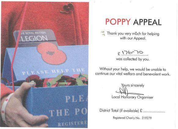 The Royal British Legion sent us this certificate.