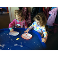 Writing numbers in the shaving foam