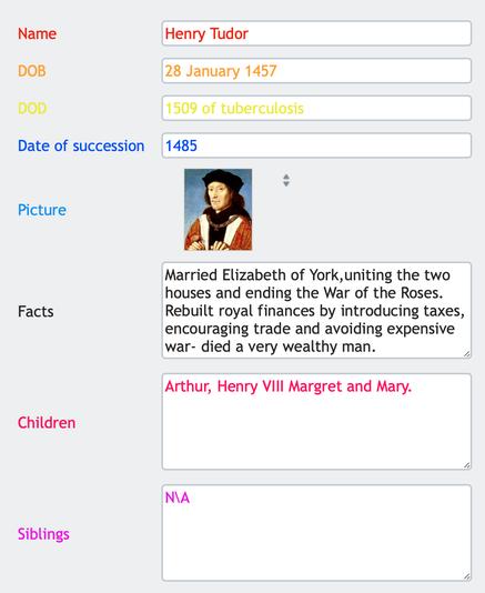 Database form (Henry Tudor)