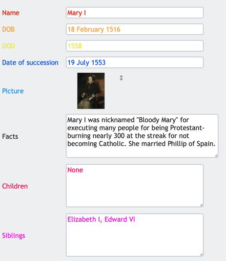 Database form (Mary I)