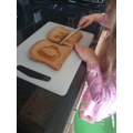 Making delicious honey sandwiches