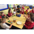 We worked as a group to create sounds.