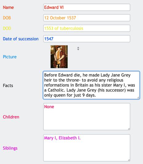 Database form (Edward VI)