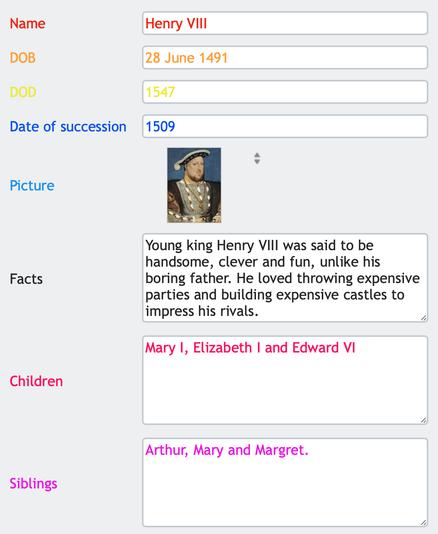 Database form (Henry VIII)