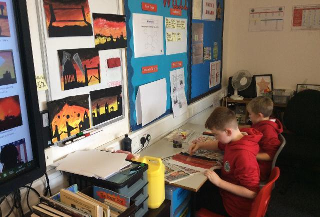Year 5 working on their Blitz art