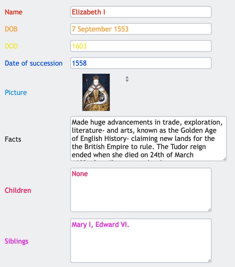 Database form (Elizabeth I)