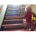 Lexie liked the patterns on each step.