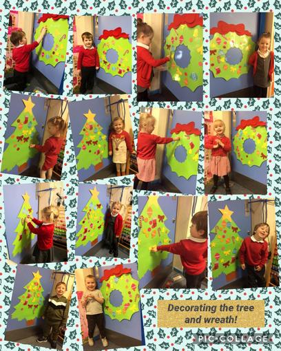 Decorating the tree and wreath!