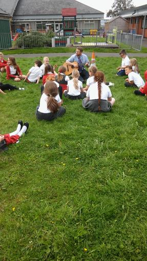We sang Happy Birthday (and Penbwydd Hapus) to some of the class who are 8 now!