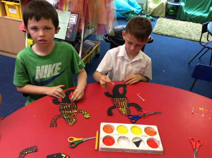 Lizards decorated aboriginal style