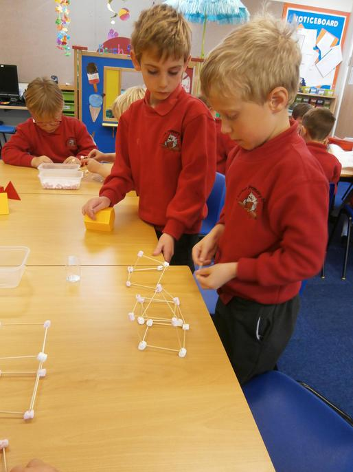 Creating 3D shapes with marshmallows was fun!
