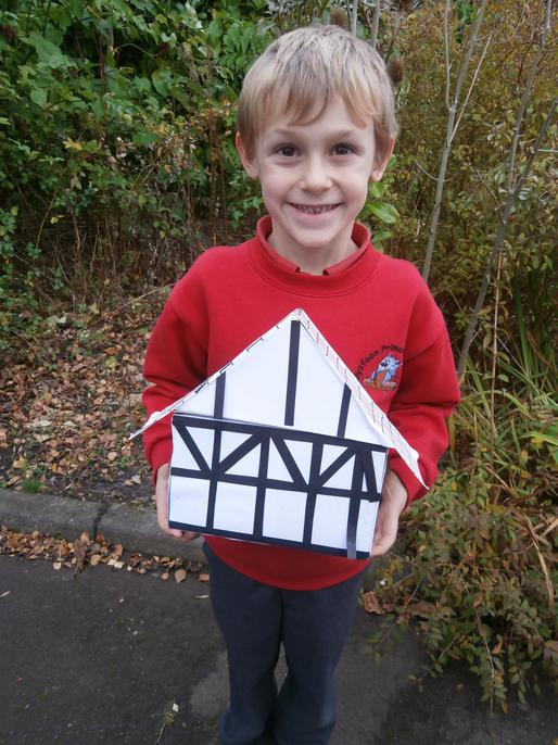 We all made a house from Pudding Lane at home.