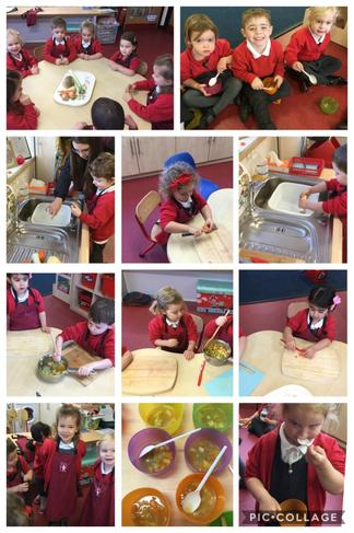 AM Children making vegetable soup🥕🥔😋