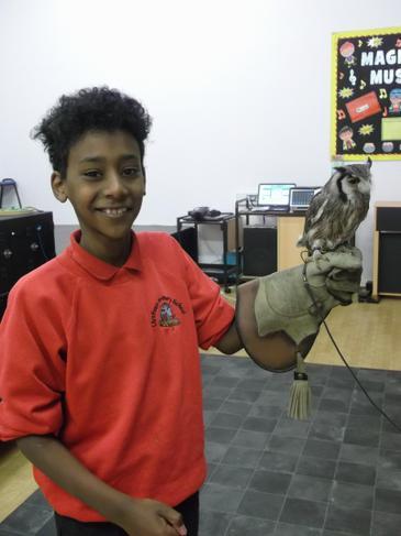 Tarig with Sahara, an African owl