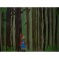 Little Red Riding Hood strolling through the woods