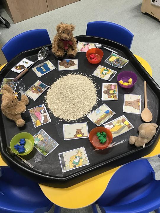 Sensory play with porridge oats