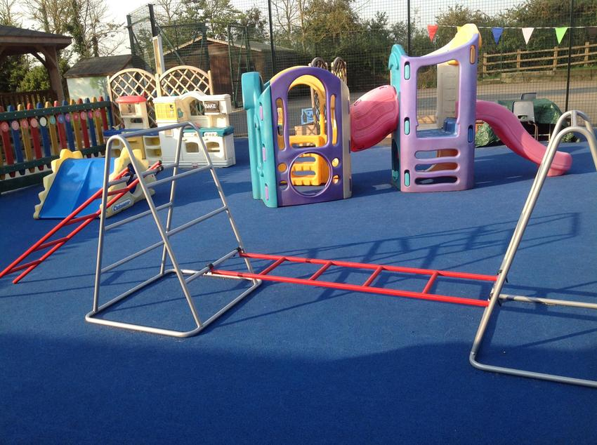 Our climbing frames and slide.