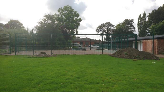 Week 6 - Fencing installed to MUGA