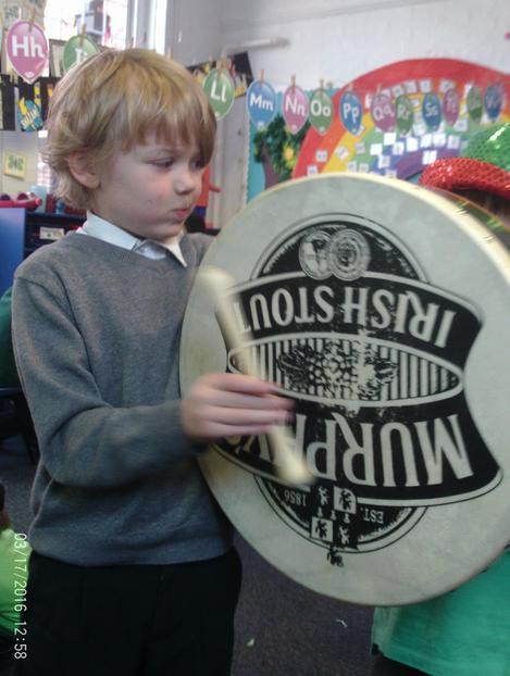 Logan playing the Bodhran