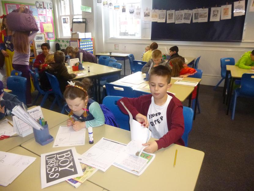 Taylor and Iona busy creating a Gruffalo story.