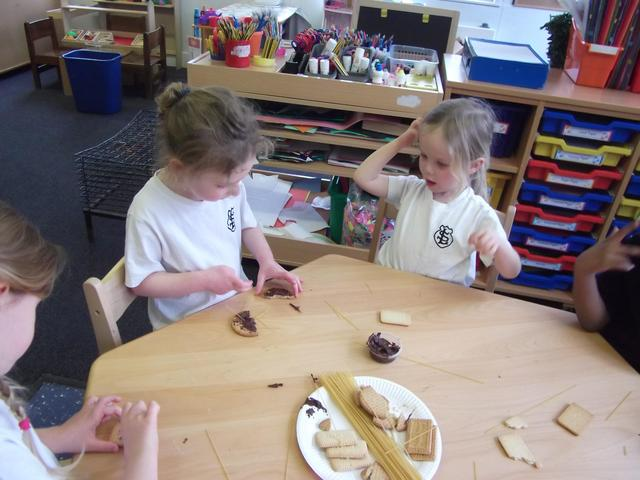 We helped each other and worked in a team to build our edible structure.