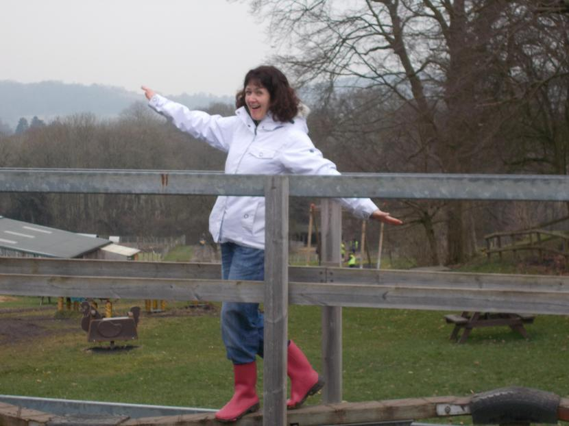Mrs Rossiter has some fun on the wobbly bridge