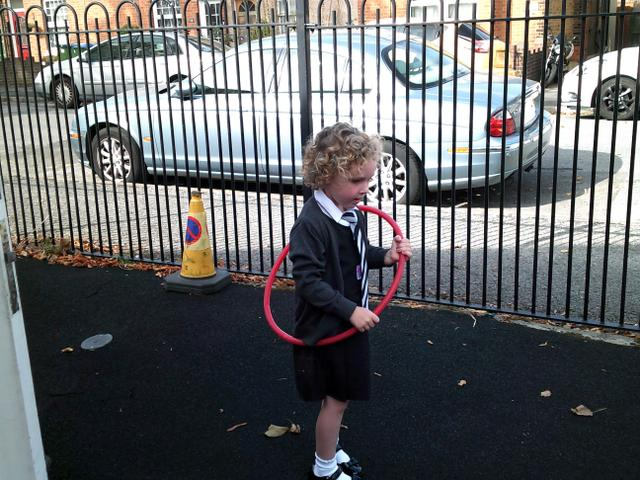 The children have been practising their hula hooping skills.