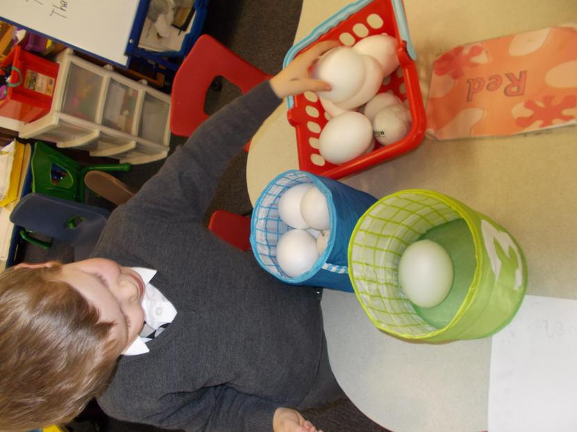 Everly begins by sharing eggs equally between two