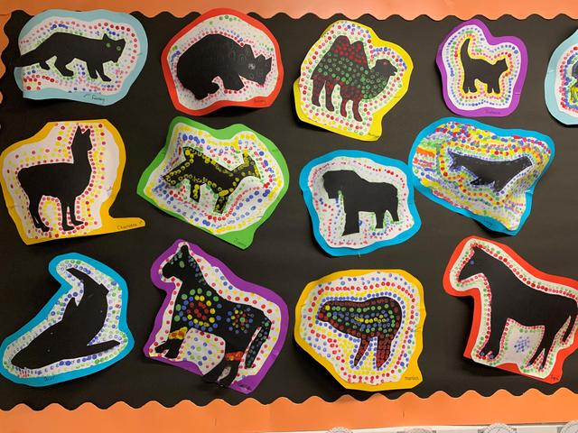 Some art inspired by Bancroft, what animals can you see?