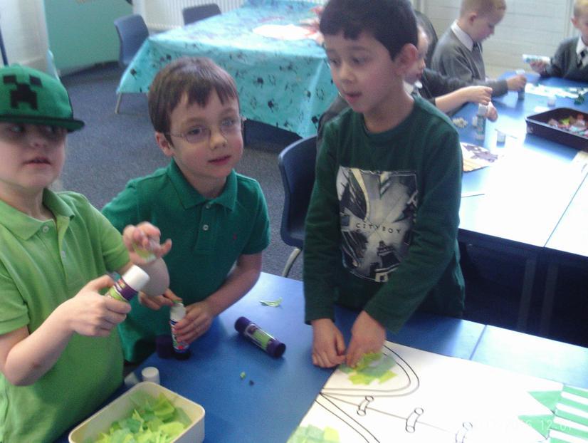 Harry, Dylan and Alikhan making the Leprechaun
