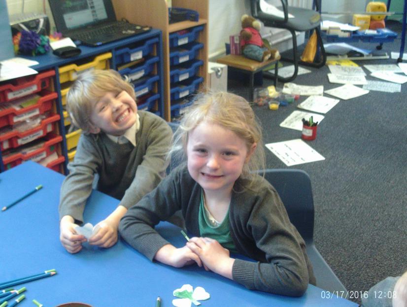 Logan and Emily making shamrocks