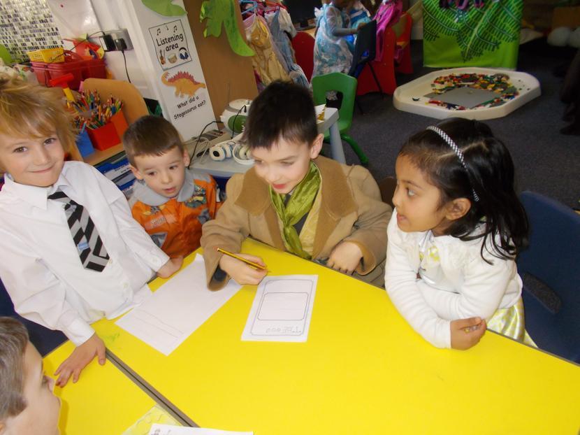 The children work hard on their farm story