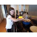 Ellie cooking tea!