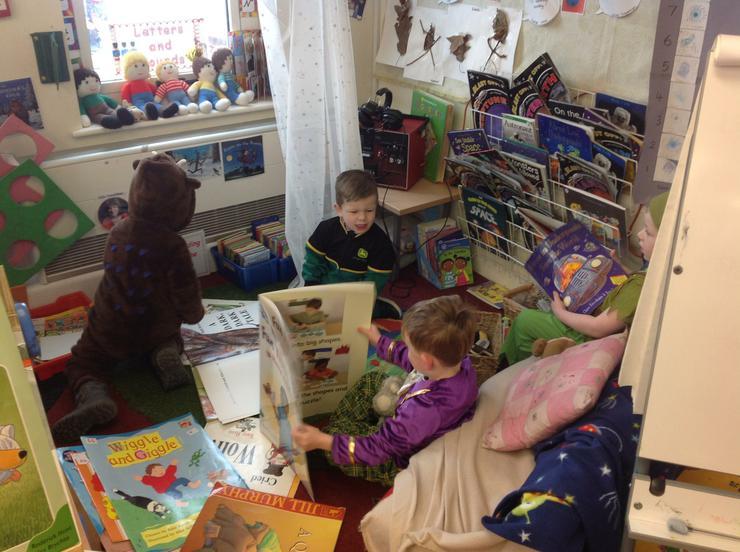 Reception children sharing stories.