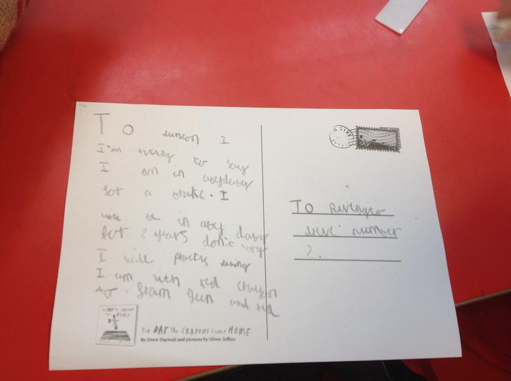 Writing a postcard in Year 2