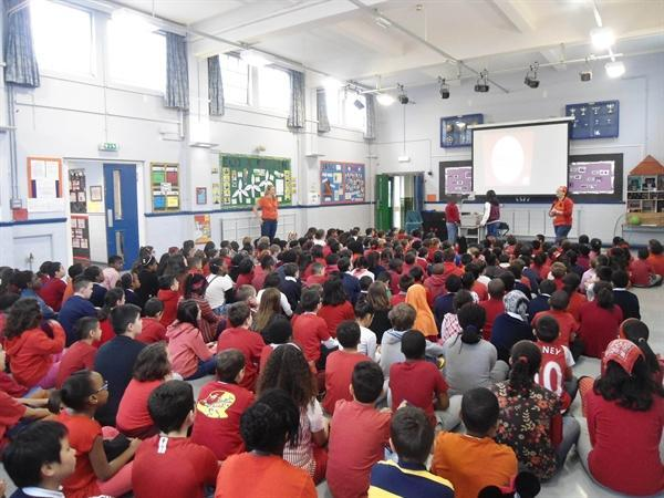 All in red during assembly