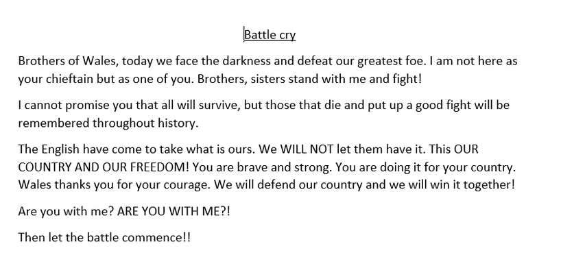 Edward's Battle Cry