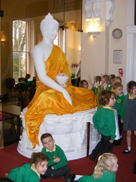 We looked at the huge statue of Buddha and created observational drawings.
