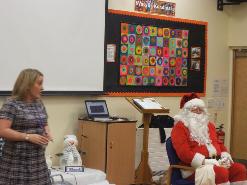 Santa made a visit to our Christmas party.