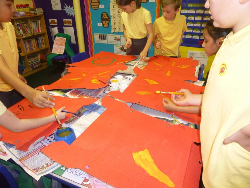 Painting our Roman shields