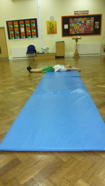 Next we stretched and rolled with our body.