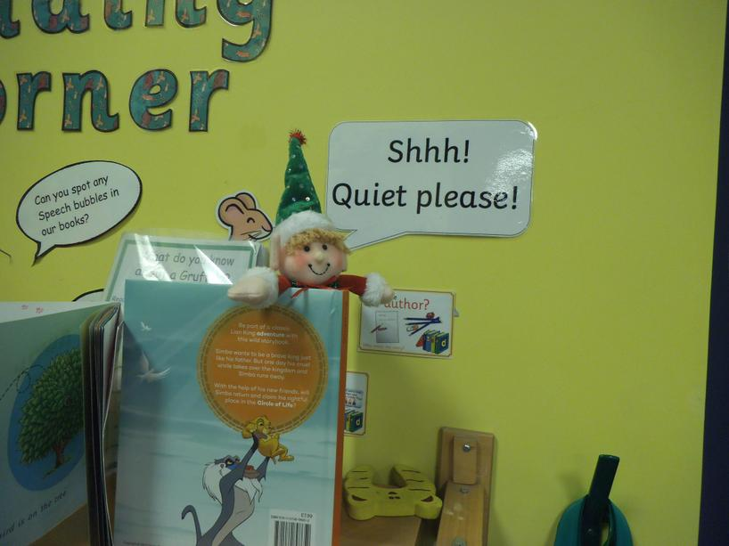 Sparkles the elf has been watching the children read in Year One.