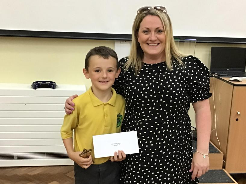 Jimmy, winner of the Key Stage One English award.