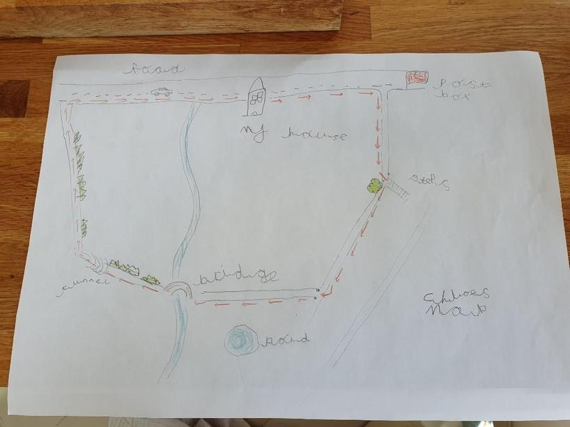 Chloe's excellent map of her journey!