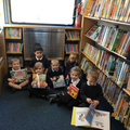 We chose books from the library van.